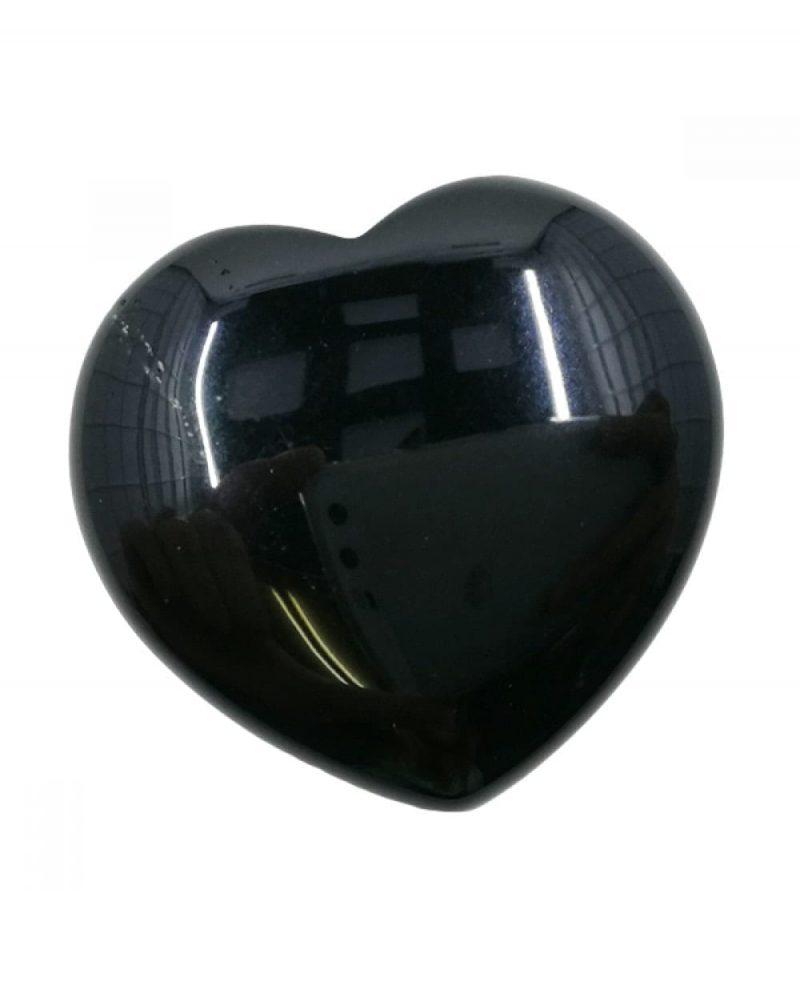 Obsidian Black Polished Heart