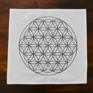 Flower of Life Grid Mat, Black on Cotton