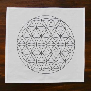 Flower of Life Grid Mat, Grey on Cotton