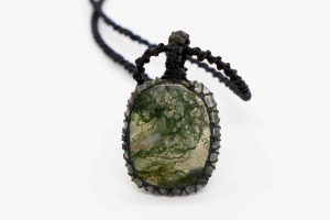 Agate, Moss Macrame Necklace
