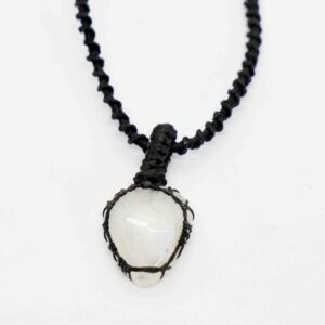 Agate, White Macrame Necklace teardrop 1