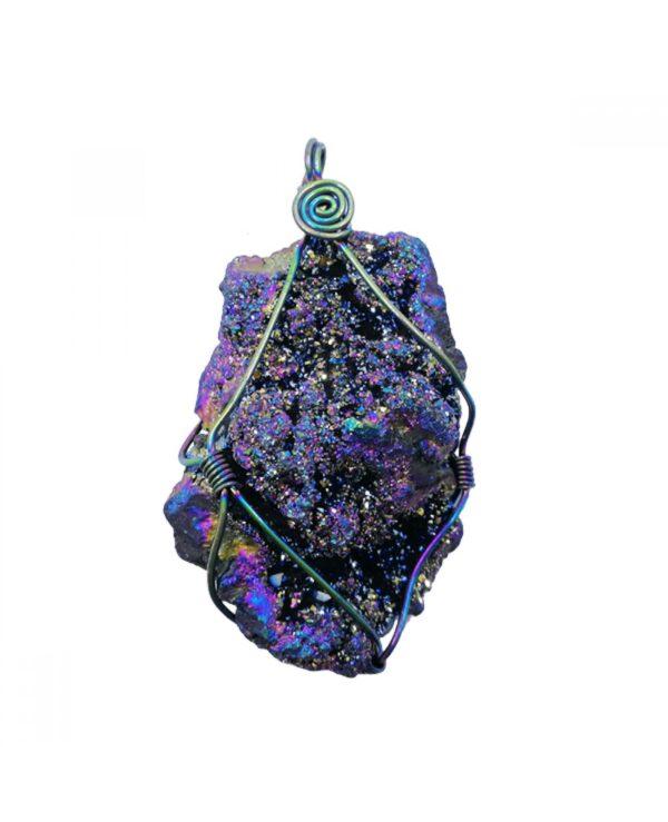 Celestial aura quartz geode pendant