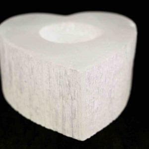Selenite Candle Holder Heart