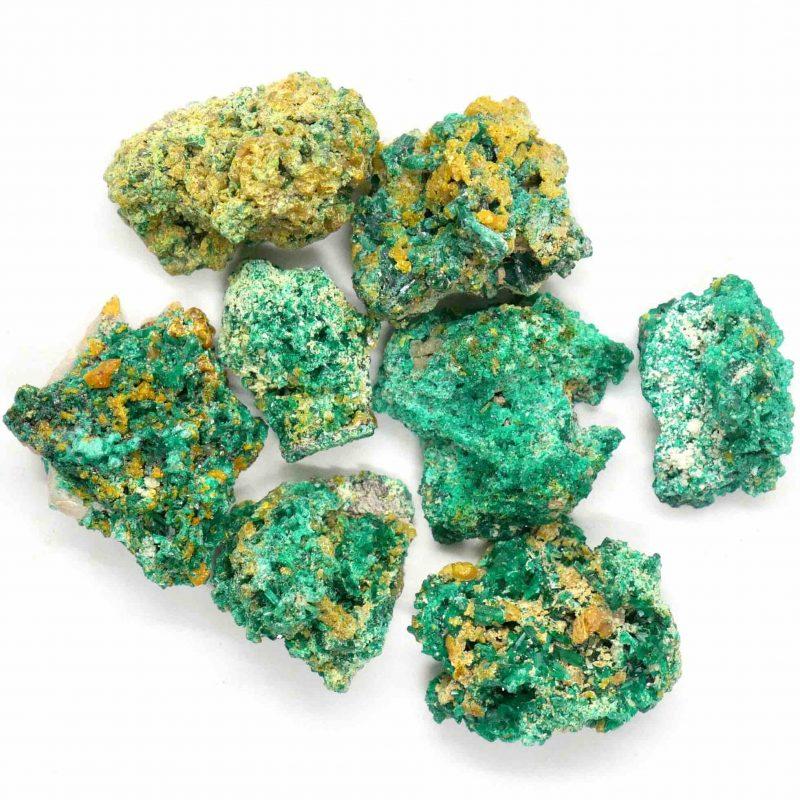 Dioptase Crystalline Mimetite Clusters