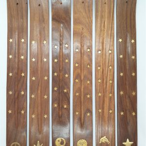Flat wooden incense holder brass inlay 1