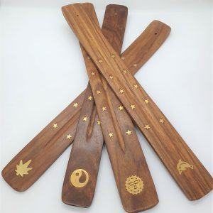 Flat wooden incense holder brass inlay3