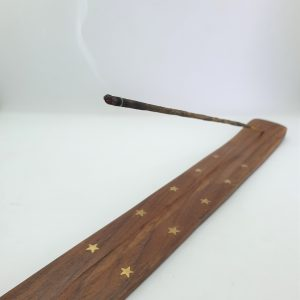 Flat wooden incense holder brass inlay4