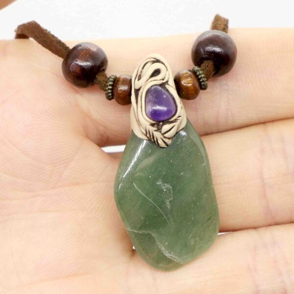 Green Aventurine, Dark & Amethyst Tumbled Clay Necklace 3