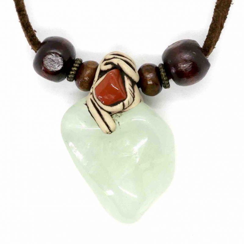 Green Aventurine, Light & Red Jasper Tumbled Clay Necklace 1