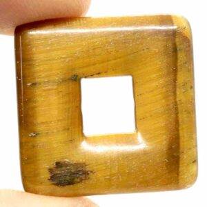 Tiger's Eye, Gold Square Pendant 1