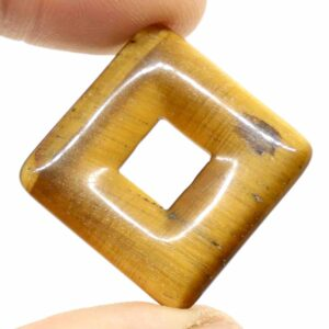 Tiger's Eye, Gold Square Pendant 2