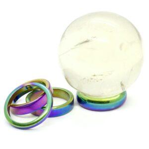 Hematite, Rainbow Ring Sphere Stands 3