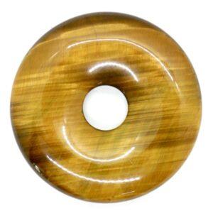 Tiger's Eye, Gold Pi Torus Pendant 3cm 1