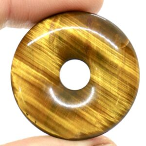 Tiger's Eye, Gold Pi Torus Pendant 3cm 2