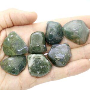 Agate, Green Moss Tumbled L - XL 3
