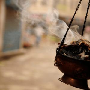 Brass Hanging Incense Burner lit