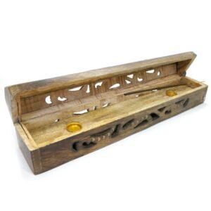 Wooden Box Incense Holder Carved 1 IHC4