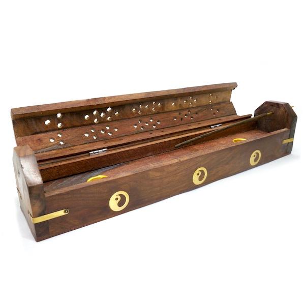 Wooden Box Incense Holder Yin Yang 1 IHC1