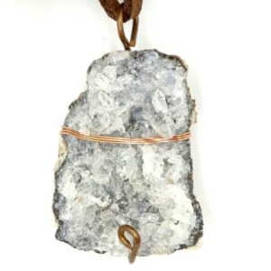 Agate Druzy, Copper Wire Wrap Pendant 1 CCWWDR1