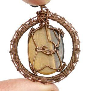 Gold Tigers Eye Copper Wire Wrap Pendant 2 CCWWTI3