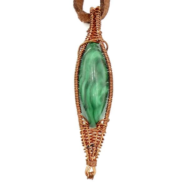 Malachite Copper Wire Wrap Necklace