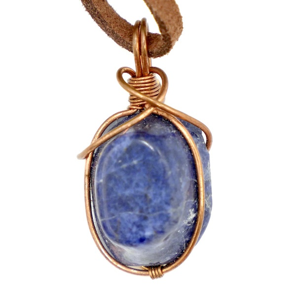 Sodalite copper wire wrap necklace