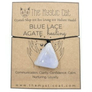 Blue Lace Agate Crystal Healing Necklace 1 HNAB1