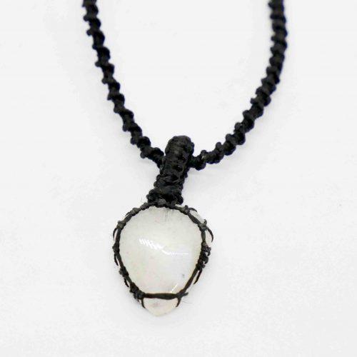 Agate, White Macrame Necklace teardrop 1