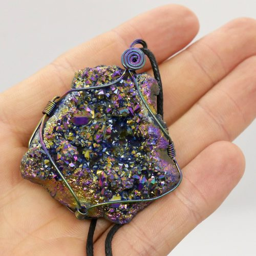Aura Quartz, Rainbow Geode Wire Wrapped Pendant 2