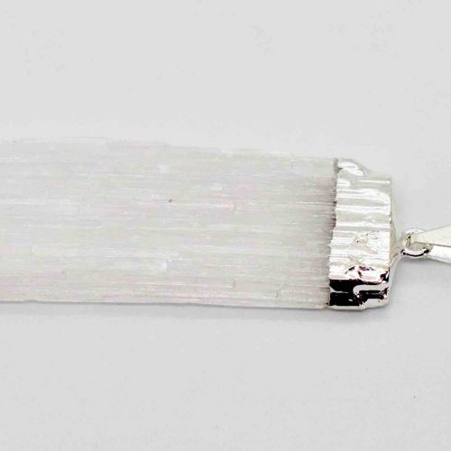 Selenite Blade Rough Silver Pendant B 1