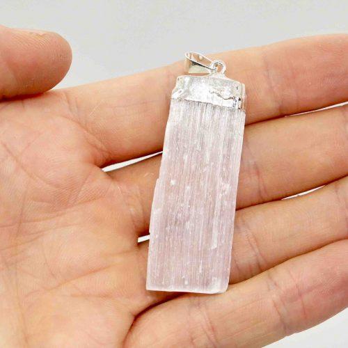 Selenite Blade Rough Silver Pendant B 2